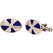Sterling Blue Enamel Cufflinks Italy - Vintage Italian Silver Cuff Links with Champleve Glass