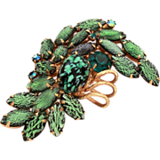 Juliana D&E Brooch Delizza and Elster Pin Green Foiled Navette Rhinestones, Green and Black Sp
