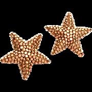 1980s Richard Kerr Star Earrings Bright Bronze Color Rhinestone Encrusted