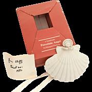 "Margaret Furlong 4"" Porcelain Bisque Shell Angel Trumpeter from 1980"