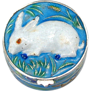 Chinese Enamel Silver Bunny Rabbit Small Pill or Trinket Box - Enameled Blue & White