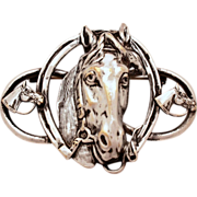 """Horse & Horseshoe Equestrian Theme Vintage Silverplate Pin - Large 2 3/4"""" Silver Plated B"""