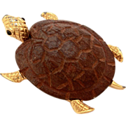 JOMAZ Turtle Pin with Carved Wood Shell, Glass Cabochon Eyes, Gold Tone Body