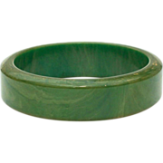 Bakelite Bangle Bracelet Marbled Green Thick Wall Tests Positive with Simichrome