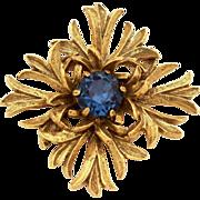 Benedikt of New York Antiqued Maltese Cross Blue Stone Vintage Pin