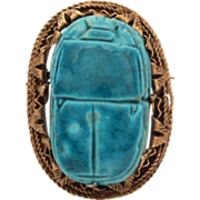 Egyptian Revival Faience Scarab 800 Silver Pin from Post 1946 Egypt
