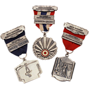 1970's Muzzle Loaders Shooting Medals San Jacinto Texas Enameled Silver Tone