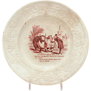 Antique Humorous French Transferware Porcelain Plate Fat Bull Competition, Le Boeuf Gras, Stud