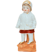1800's Germany Porcelain Figurine Little Girl in Winter Jacket, Cap, and Scarf - Antique Germa