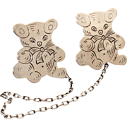 Sterling Teddy Bear Bib Clip - Baby Feeding Time - Sweater or Mittens Clips - Signed TWR