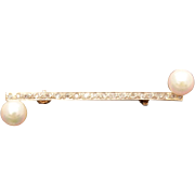 Tiny Diamonds & Cultured Pearls 10k White Gold Bar Pin