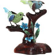 "Chinese Sterling Enamel Bird Figurine, Birds on Wood Branch, 4.5"" Sculpture"