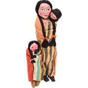 Native American Indian Skookum Family - Mother Squaw, Baby Papoose, Child in Indian Blankets, 1940s Tourist Era