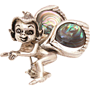 Cyvra Fairy Pin Sterling Abalone Shell Wings, Fantasy Pixie Brooch