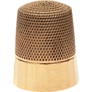 Antique 10k Gold Paneled Sewing Thimble by Simons Brothers, Seamstress Embroidery Tool