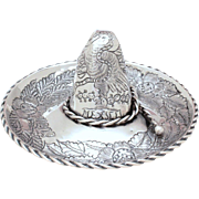 Sanborns Mexico Large Sterling Sombrero Dish, Vintage Mexico Silver