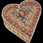 Nepal Brass Heart Box, Coral Turquoise Glass, Nepalese Tibet Trinket Box