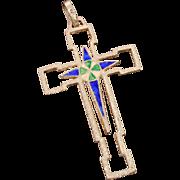 800 Silver Enamel Pendant Cross, Enameled Green & Blue, Reversible