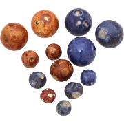 Antique Bennington Marbles, 13 Clay Marbles, Large 29mm, Impressed Markings
