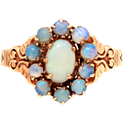 Antique Edwardian Opal 10k Rose Gold Ring, Size 6.5