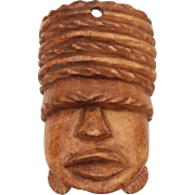 "Vintage Carved Bone African Head Pendant, Bone Carving, Africa Face, Large Over 2"""