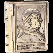 Pope John XXIII Rosary Box, Silverplate Papal Portrait Signed D. Colombo, Book Shape Box