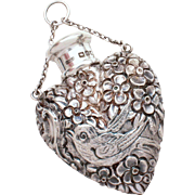 SALE PENDING Rare Antique Chatelaine Perfume Flask by Sampson Mordan & Co, Heart Shape Bottle