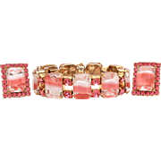 Kramer of New York Bracelet Earrings with Pink, White, and Clear Emerald Cut Glass Rhinestones