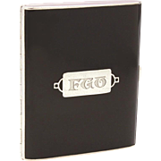 Art Deco Sterling Black Enamel Cigarette Case by Webster, Engraved Monogram FGO