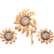 Jomaz Ciro Matching Set Pin & Earrings Textured Gold Tone Flower Petals Pave Rhinestone Center