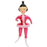 Italian Christmas Ornament Blown Glass Ice Skater, Hand Painted Face, Hot Pink Skating Outfit