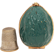 Ernest Steiner Green Enamel Brass Walnut Sewing Kit, Thimble Case or Holder, Vintage Sewing Etui with Foil Label