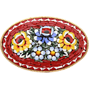 Vintage Italy Mosaic Pin, Dark Red Italian Micro Mosaic, Vintage Brooch, Floral Bouquet Flower
