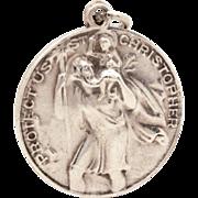 Vintage Sterling St. Christopher Medal Signed BB, Patron Saint Bachelors Travelers, Catholic M