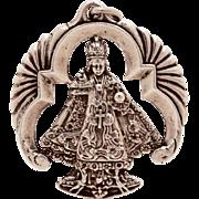 Infant of Prague Sterling Pendant or Large Charm, Infant Jesus of Prague Catholic Medal, Vinta