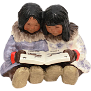 1988 C. Alan Johnson Molly and Sue Eskimo Girls Reading ABC Book, Pottery Figurine AF 112, Nat