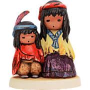 1983 DeGrazia Goebel Figurine Wondering, Ettore Ted DeGrazia Southwest Native American Indian Boy & Girl, Vintage Goebel 10 316 13
