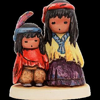 1983 DeGrazia Goebel Figurine Wondering, Ettore Ted DeGrazia Southwest Native American Indian Boy & Girl, Vintage Goebel 10 316 13