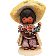 1983 DeGrazia Flower Boy, Figurine Goebel Degrazia, Southwest Style, Ettore Ted DeGrazia Goebe