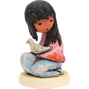 The White Dove DeGrazia Goebel Figurine, American Impressionist Ettore Ted DeGrazia, Native American Indian Girl Dove of Peace & Innocence