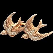 CoroCraft Duette Pin Heavenly Swallows Sterling Birds Fur Clip, Sterling Vermeil Coro Craft 2.