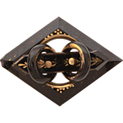 Antique Victorian Mourning Pin, Black Glass Brooch Layered Design with Gold Painted Details
