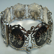 Vintage sterling silver and niello bracelet