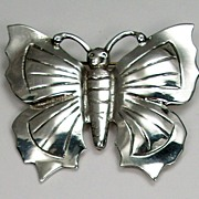 Vintage butterfly brooch, sterling silver