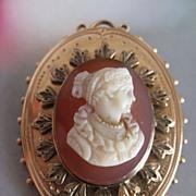 Beautiful 10K Hard Stone Cameo Pin - Pendant   Victorian