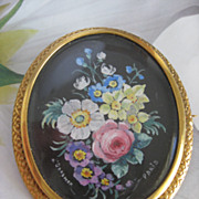 Victorian Miniature Painting Pin French Signed