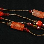 Fantastic Vintage Orange Red Art Glass Crystal Bead Necklace
