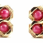 Vintage Pink Moonglow Bead Mesh Wrap Cuff Links