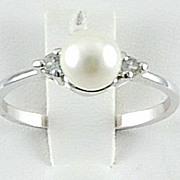 Dainty Faux Pearl Bead Rhinestone Ring