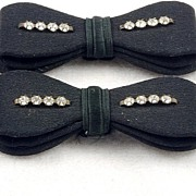 Sweet Vintage Rhinestone Black Fabric Bow Shoe Clips